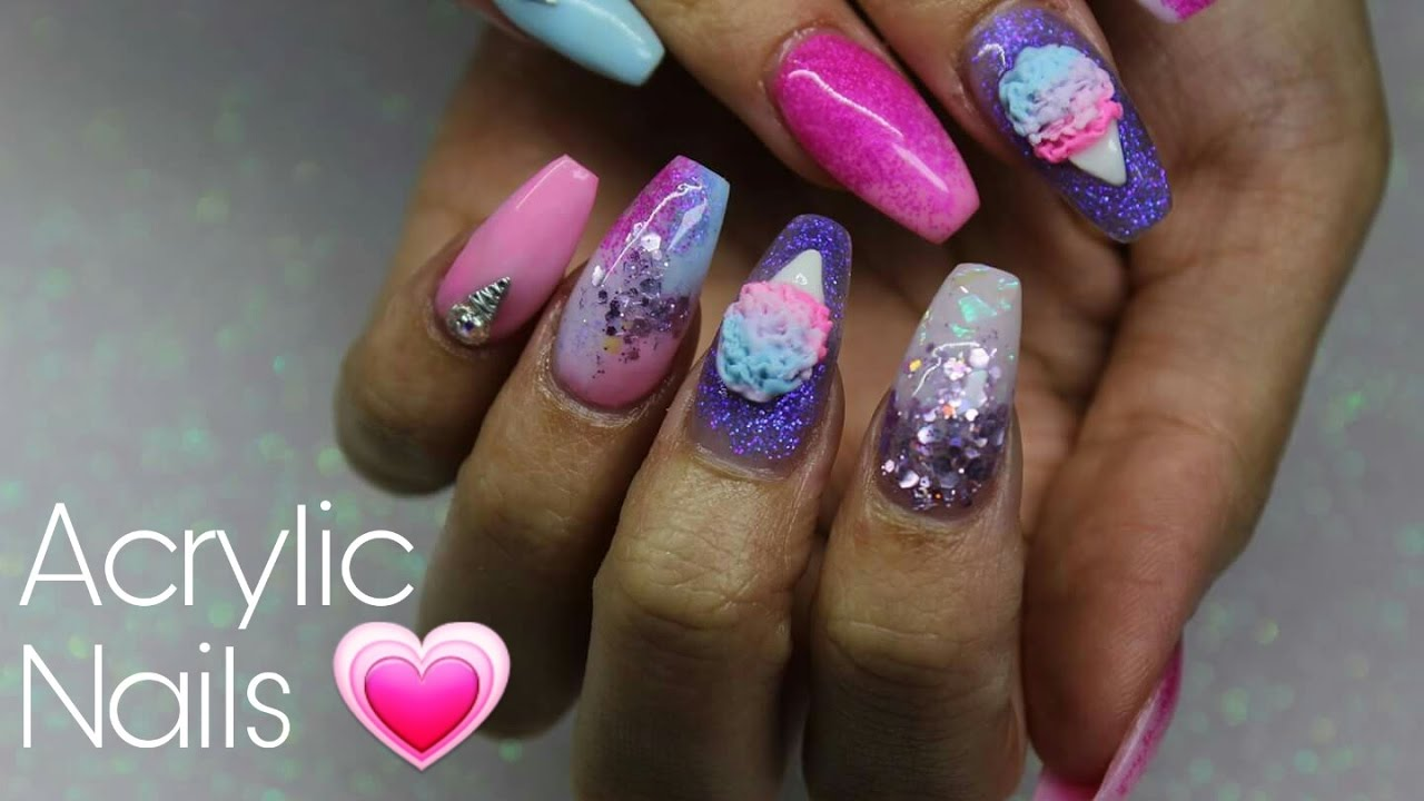 Acrylic Nails Cute Pastel And Glitter With Art You
