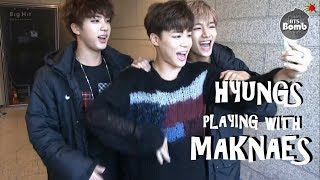 BTS HYUNGS PLAYING WITH MAKNAES