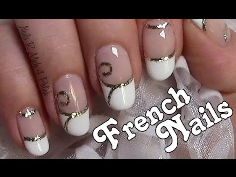 Flourish french nails wedding nail art design easy nail design flourish french nails wedding nail art design easy nail design tutorial youtube prinsesfo Gallery