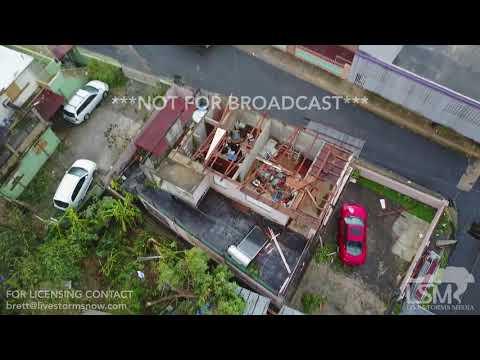 9-20-2017 Bayamon, Puerto Rico San Juan metro Hurricane Maria extensive damage drone