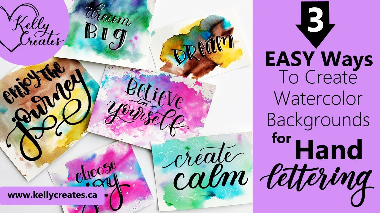 3 easy watercolor backgrounds for hand lettering more youtube