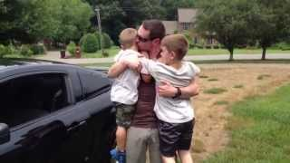 Daddy Is Home Boys Emotional Reaction Military Homecoming