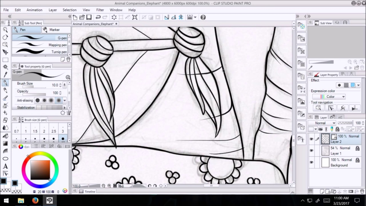 creating an coloring page from a sketch using a wacom cintiq