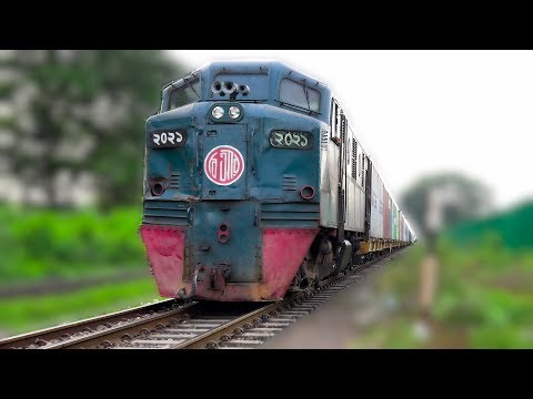 Container Transport Train passing near to Dhaka Bimanbandar Railway Station