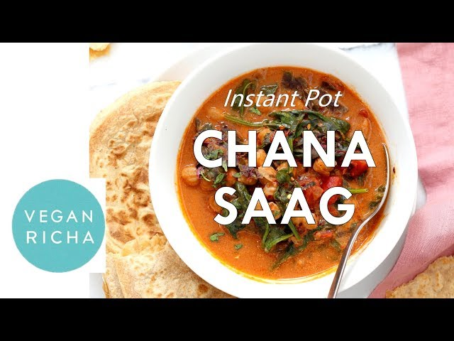 Instant Pot Chana Saag - Chickpea Spinach Curry | Vegan Richa