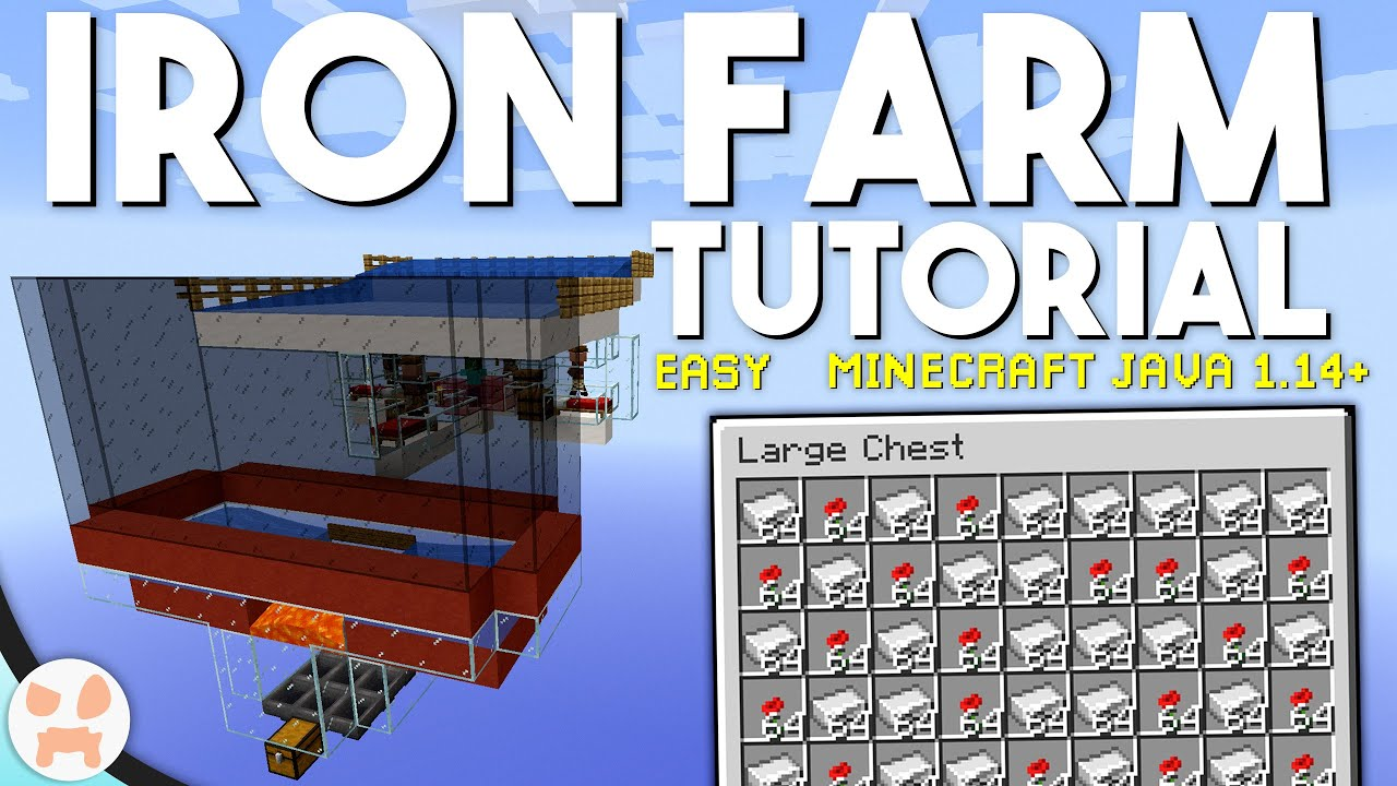 Minecraft Iron Farm Tutorial Easy Automatic 1 15 1 Compatible Youtube