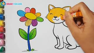 Coloring a Cat and Flower    Draw For Kids