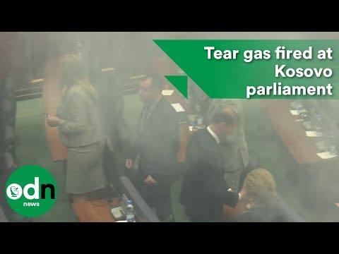 Tear gas fired at Kosovo parliamentary meeting
