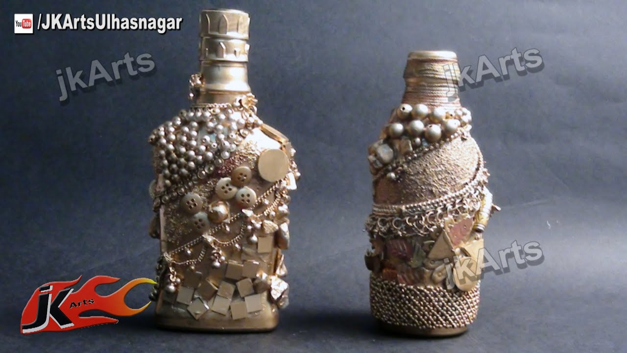 How to make antique bottle from glass bottle best out of for Waste material craft work with bottles