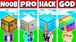 Minecraft: FAMILY SECRET CHEST HOUSE BUILD CHALLENGE - NOOB vs PRO vs HACKER vs GOD in Minecraft