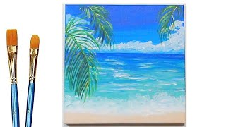 Easy Acrylic Beach Painting - How to Paint a Tropical Beach Step by Step