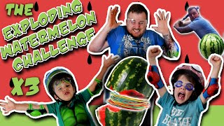 exploding watermelon challenge x3 messy dad smashed watermelon with baseball bat smash cam