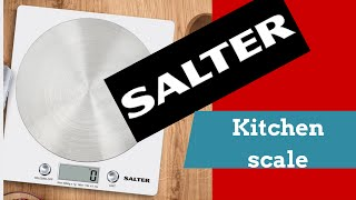 Salter Disc kitchen scale measures liquid and solid