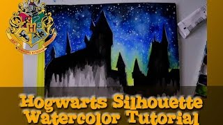 HOGWARTS Silhouette Watercolor Tutorial - @dramaticparrot