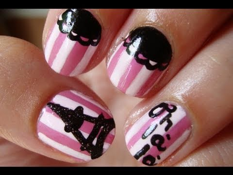 paris france theme nail art
