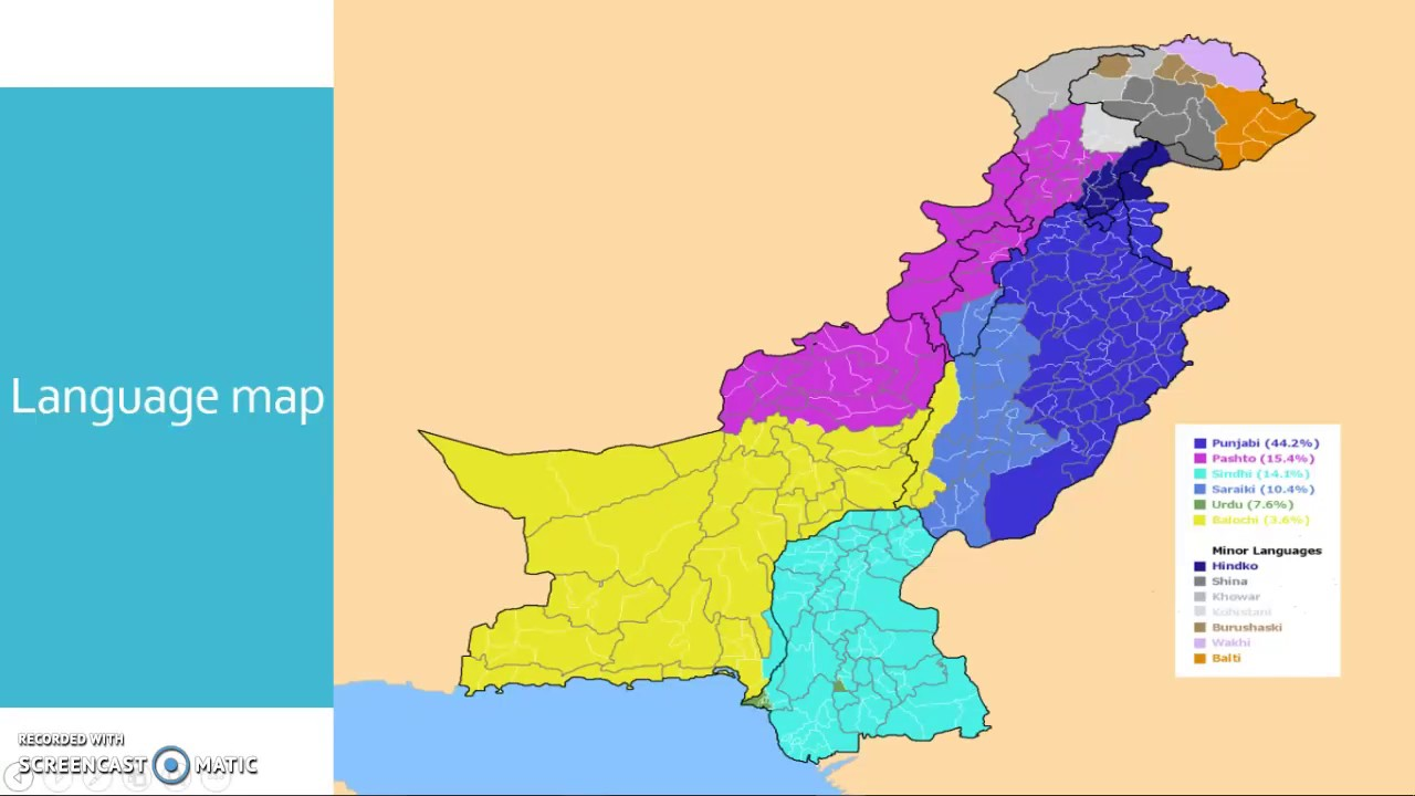 Multilingualism In Pakistan YouTube - Pakistan language map