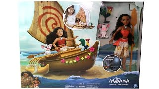 Disney Moana Starlight Canoe & Friends Unboxing Toy Review with Starlight Projector