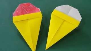 簡単な折り方のアイスクリームです。色を塗ったり、両面折り紙で折った...