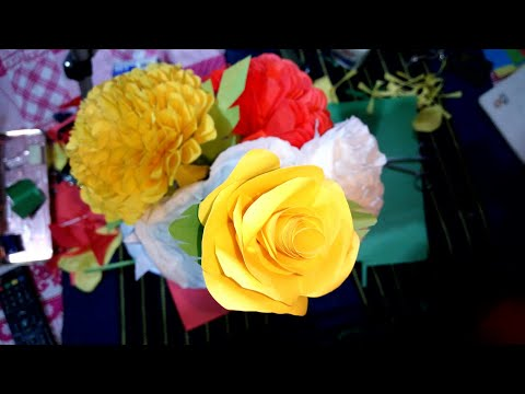 DIY- 04 - Paper work | Rose | Making Beautiful yellow Colour Rose | Very Easy