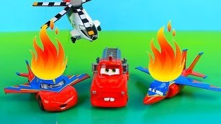 Disney Pixar Cars Recue Squad Mater Saves Lightning McQueen on fire after planes accident