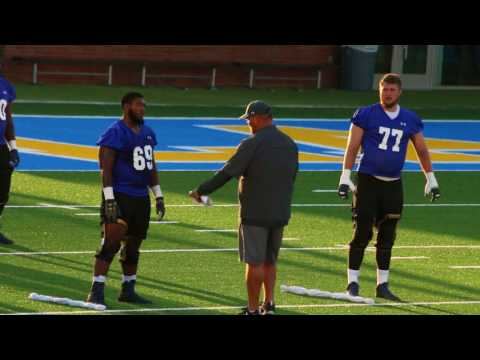 UCLA Football 2017 Practice #2 OL Footwork Drill #1