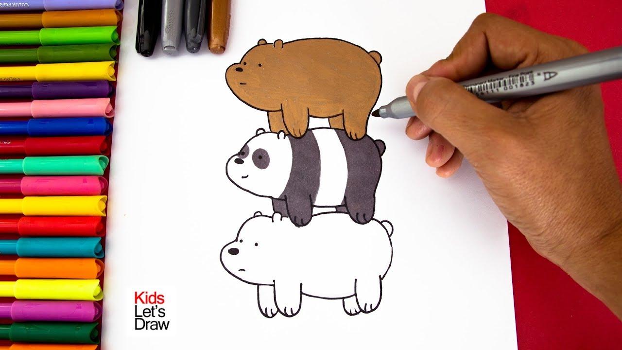 Cómo Dibujar Y Colorear Los Osos Escandalosos Panda Polar Y Pardo Kidsletsdraw