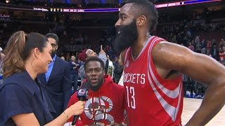 Kevin Hart Crashes James Harden's Postgame Interview | 01.27.17