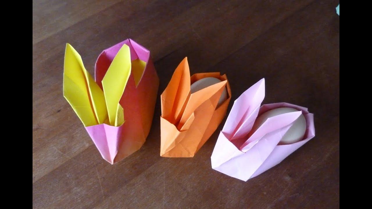Konijn Haasje Met Als Rug Een Bakje Origami Youtube