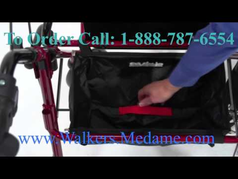 4-wheel Lightweight Transport Wheelchair Walker Combo