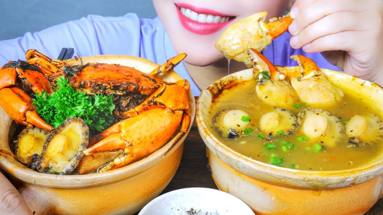 ASMR CRAB X ABALONE NOODLES AND SOUP , EATING SOUNDS | LINH-ASMR