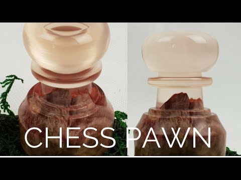 Chess piece stabilised Mellee burl and resin