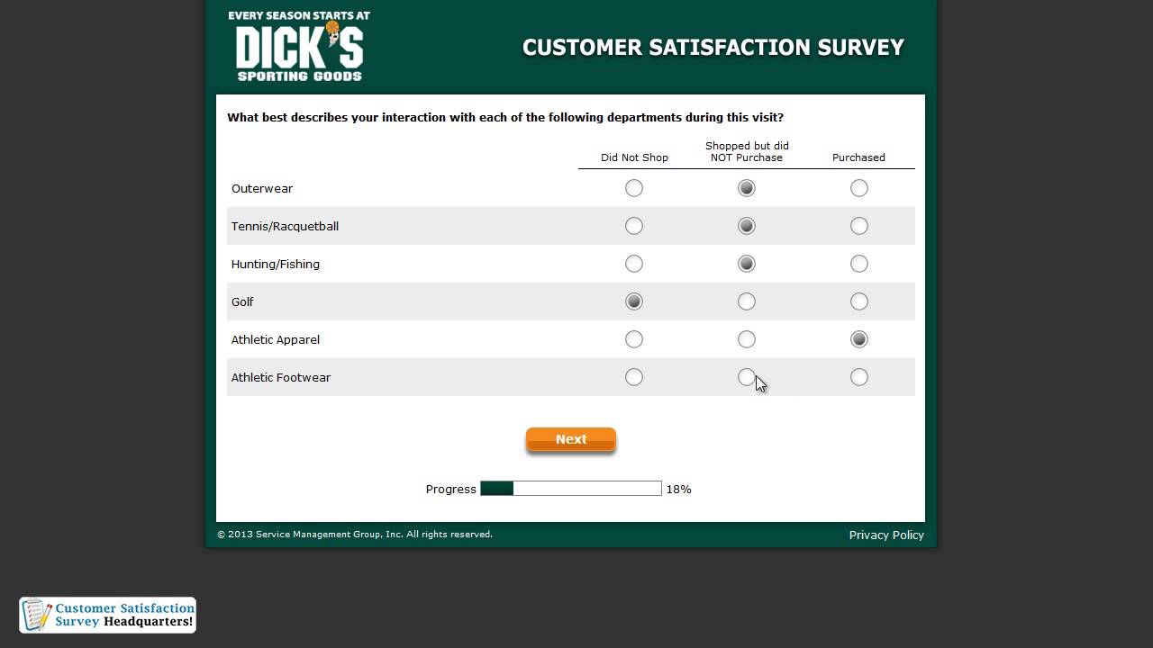 Dicks sporting goods survey