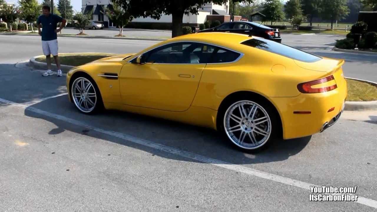 Rare Yellow Aston Martin V8 Vantage Start Up And Faint Exhaust