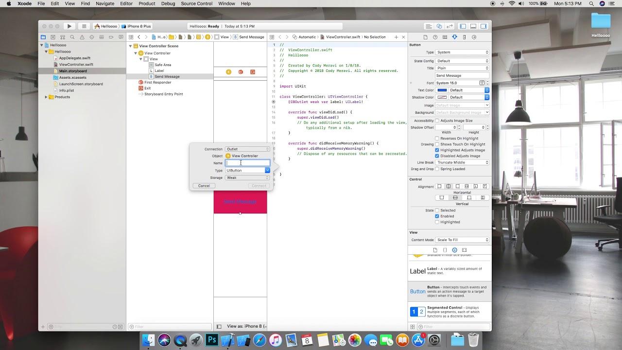 Drawing Line Xcode : Ios tutorial: hello world swift 4 xcode 9.2 youtube