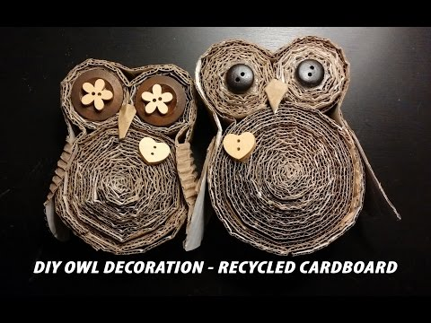 Diy Owl Decoration Recycled Cardboard Buho De Carton Corrugado