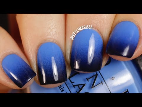 Blue to Black Gradient Nail Art Design