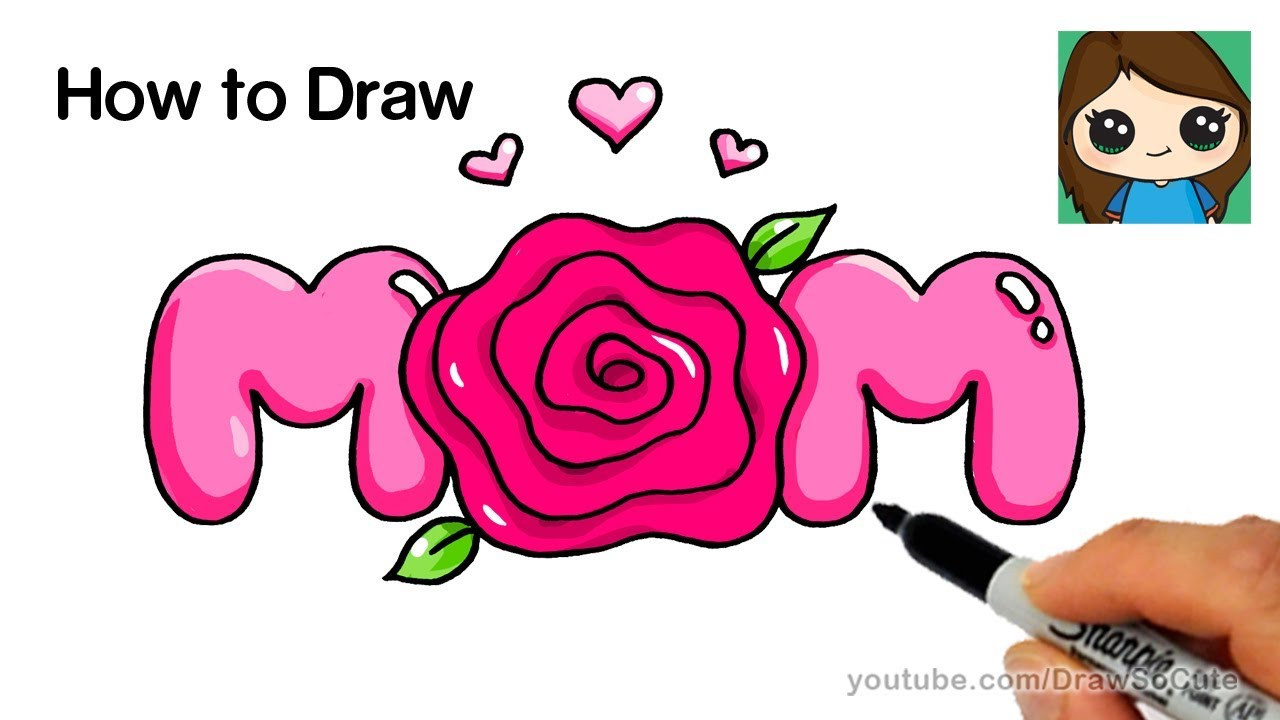 How to Draw Mom Bubble Letters with a Rose Super Easy - YouTube