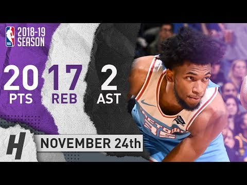 Marvin Bagley III Full Highlights Kings vs Warriors 2018.11.24 - 20 Pts, 2 Ast, 17 Rebounds!
