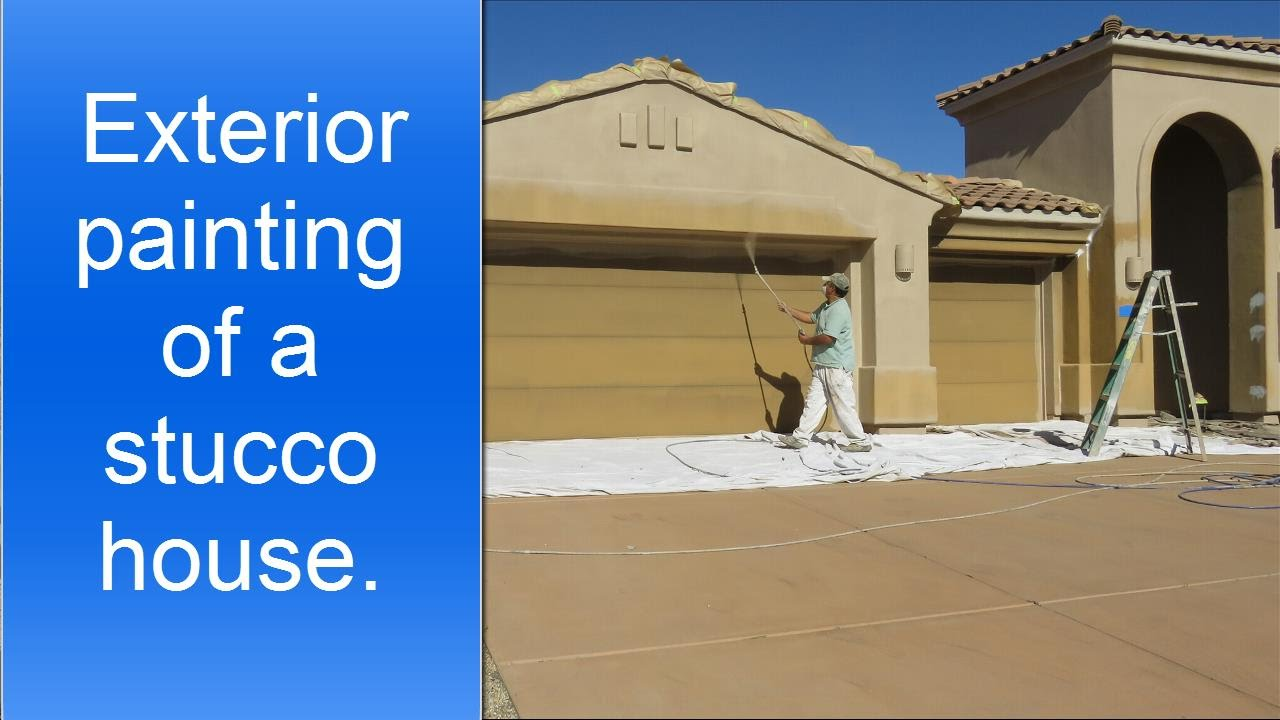 Spray painting exterior of a stucco house youtube How to plaster a house exterior