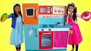 Wendy & Emma Pretend Play w/ Giant Kitchen Cooking Toy Compilation mp3
