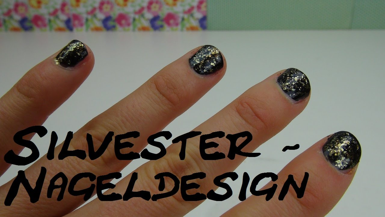 n gel f r silvester lakieren nageldesign mit glitzer gold deutsch youtube. Black Bedroom Furniture Sets. Home Design Ideas