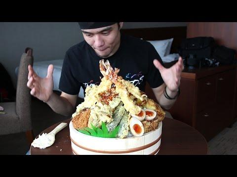 GIANT Tempura Don Challenge   Tokyo (非常に大きい天丼食いチャレンジ)
