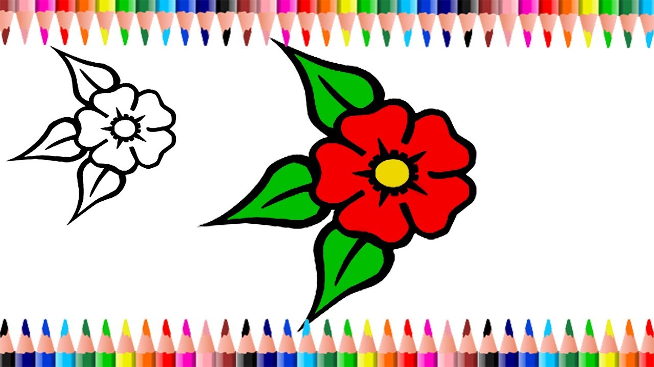 Color pages for kids | Coloring Pages for Kids | How to Draw Flower ...