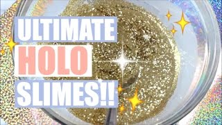 Video THE ULTIMATE HOLOGRAPHIC GLITTER SLIMES!! - asmr slime making & tons of pretty lil glitters download MP3, 3GP, MP4, WEBM, AVI, FLV November 2017
