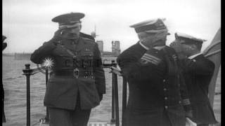 King of Britain, George V arrives and is greeted aboard the battleship HMS Queen ...HD Stock Footage