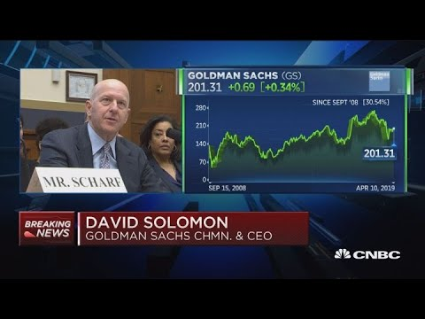 Goldman Sachs CEO David Solomon delivers his opening statement to the House Financial Services Commi