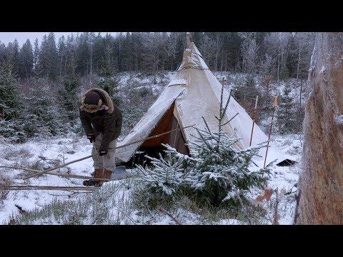 WINTER CAMPING - BUSHCRAFT BASE CAMP - Tipi Back Rest - Canvas Hot Tent - Nomad Woodstove Cooking