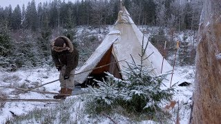 WINTER CAMPING - BUSHCRAFT BASE CAMP - Tipi Back Rest - Canvas Hot Tent - Nomad Woodstove Cooking