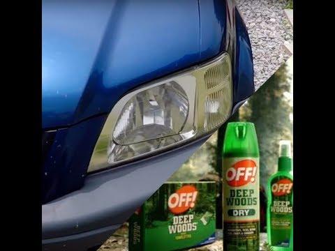 Using Bug Spray With DEET To  Restore Foggy Headlights ( Fastest Method ) !!!