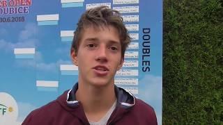 Tadeáš Paroulek po vítězství v 1. kole Rieter Open Pardubice 2018